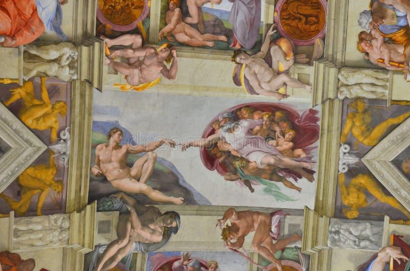 Genesi - cappella di sistine, buonaroti del michelangelo fotografia stock