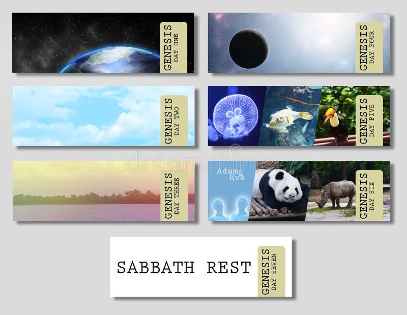 Genesis Creation Banners imagens de stock