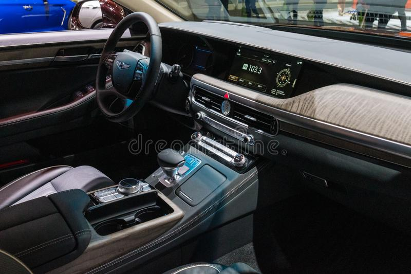 Genesis G90 on display during Los Angeles Auto Show royalty free stock photography