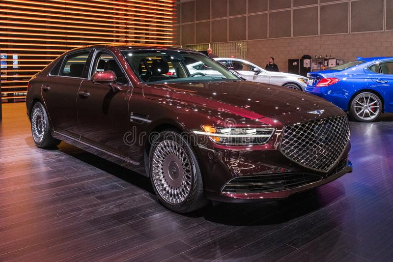 Genesis G90 on display during Los Angeles Auto Show royalty free stock image