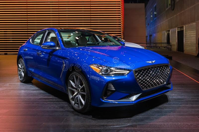 Genesis G70 on display during Los Angeles Auto Show stock image