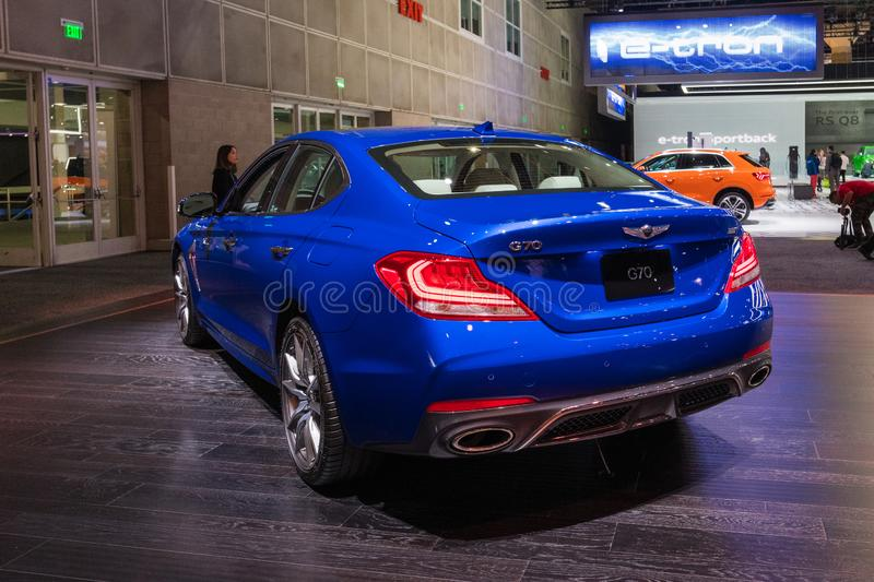Genesis G70 on display during Los Angeles Auto Show royalty free stock photography