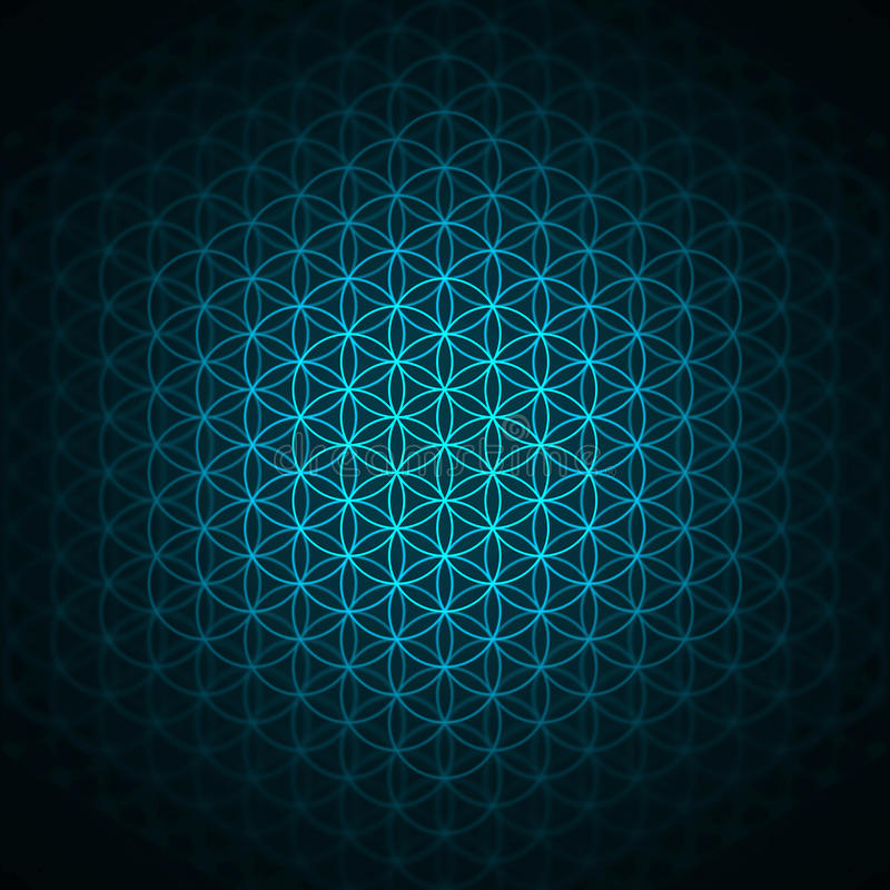 genesis pattern - the flower of life blue stock illustration