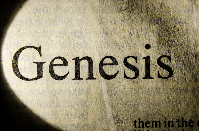 Genesis text header royalty free stock photo