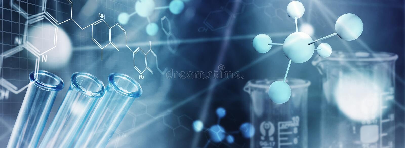 Genetic and chemical research Medicine laboratory background. Genetic and chemical research royalty free stock photos