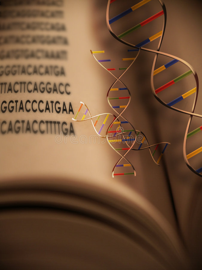 Genetic Code 2. Genetic Code in a book with DNA strands hovering above royalty free stock images