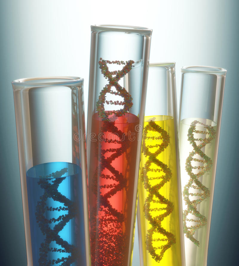 Genetic Code Manipulation. Test tube with dna inside. Concept of manipulation of the genetic code. Clipping path included stock images