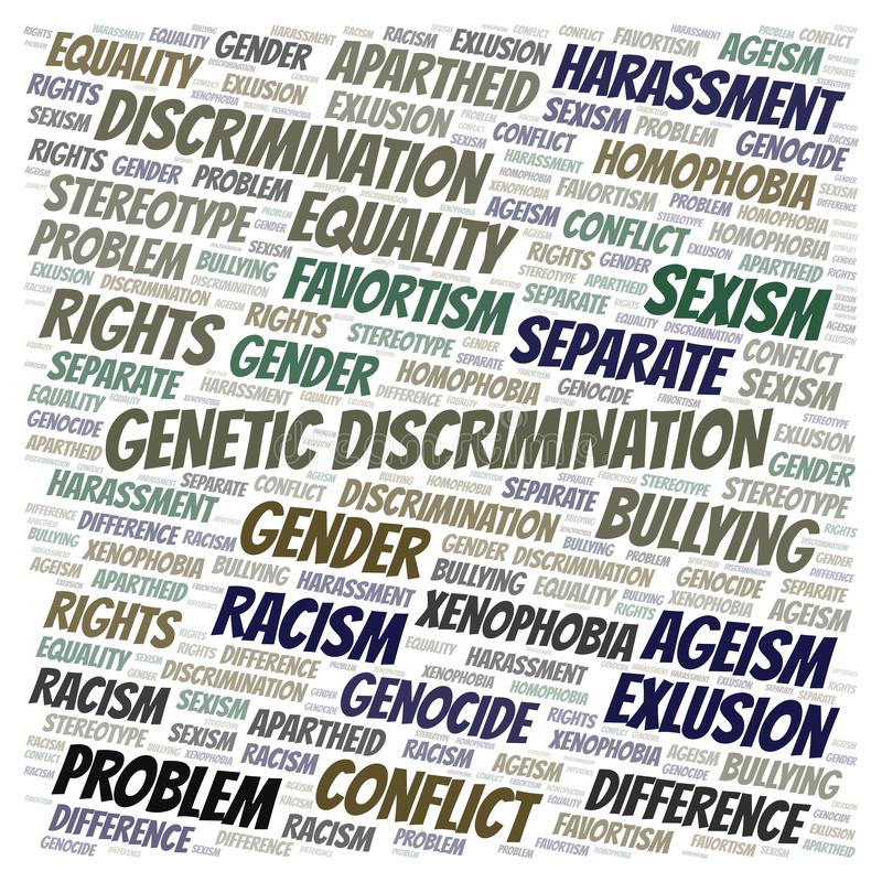 Genetic Discrimination - type of discrimination - word cloud. Wordcloud made with text only vector illustration