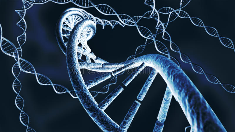 Genetic DNA chain strands 3D rendering royalty free stock photography