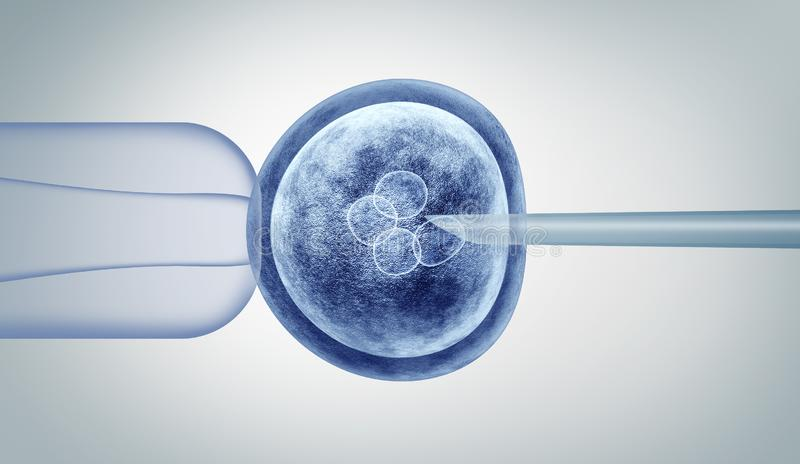 Genetic Editing. And gene research in vitro CRISPR genome engineering medical biotechnology health care concept with a fertilized human egg embryo and a group vector illustration