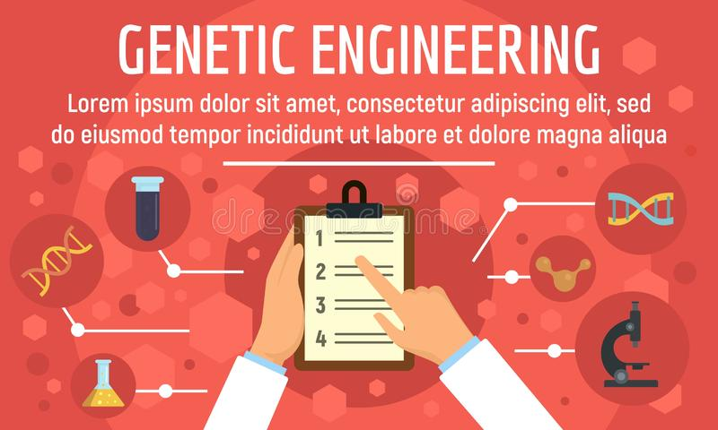 Genetic engineering concept banner, flat style. Genetic engineering concept banner. Flat illustration of genetic engineering vector concept banner for web design stock illustration