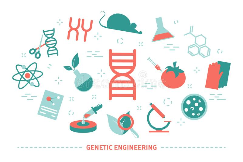 Genetic engineering concept. Biology and chemistry experiment. Invention and innovation in medicine. Futuristic technology. Collection of colorful icons vector illustration
