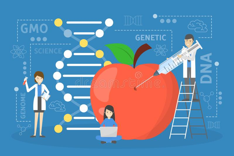 Genetic engineering concept. GMO food. Biology and chemistry stock illustration