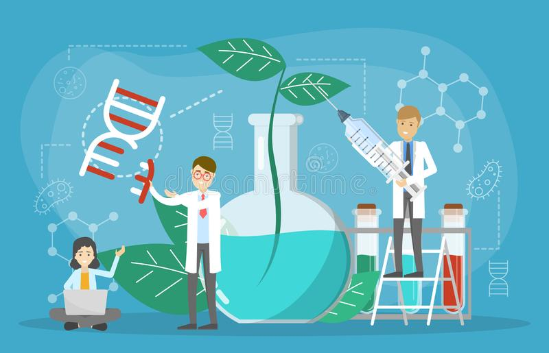 Genetic engineering concept. GMO food. Biology and chemistry. Experiment. Invention and innovation in medicine. Futuristic technology and scientist. Vector royalty free illustration