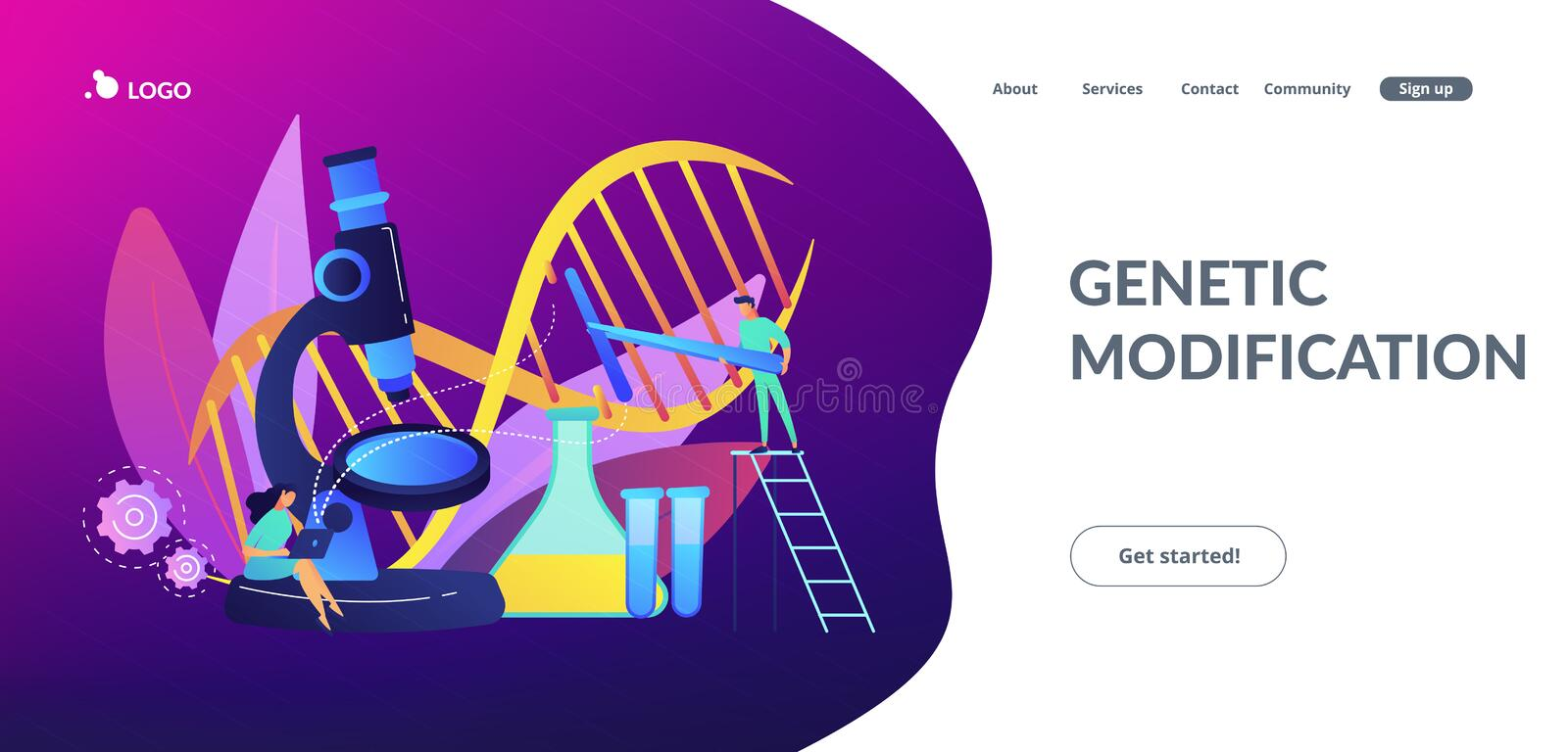 Genetic engineering concept landing page. Microscope and scientists changing DNA structure. Genetic engineering, genetic modification and genetic manipulation royalty free illustration