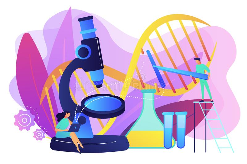 Genetic engineering concept vector illustration. Microscope and scientists changing DNA structure. Genetic engineering, genetic modification and genetic stock illustration
