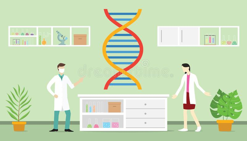 Genetic engineering on the laboratory with team people doctor and scientist with modern flat style - vector vector illustration