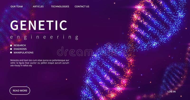 Genetic engineering landing page. Vector shine DNA structure. Medical science web page template. Illustration of dna biology science, biotechnology medical vector illustration