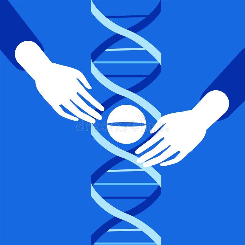 Genetic engineering. CRISPR Cas9 gene editing method stock image