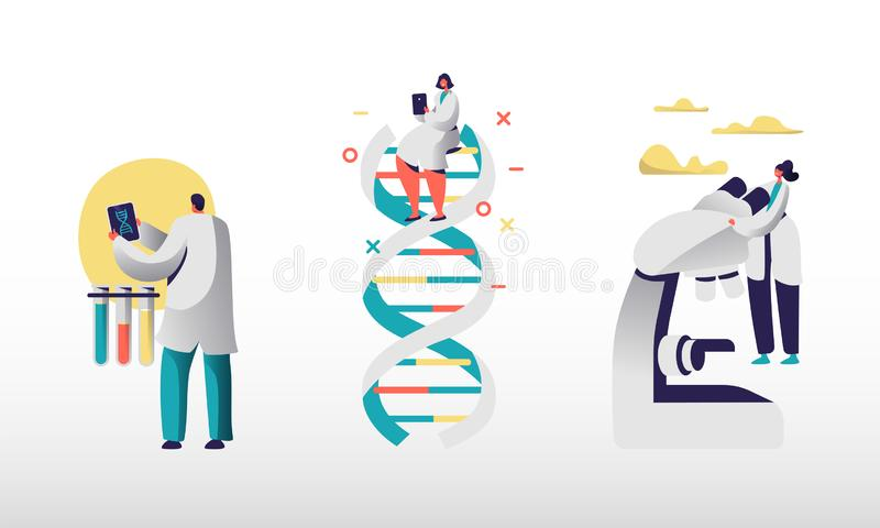 Genetic Laboratory Staff Using Internet and Smart Technologies for Work. Scientists Using Tablets and Microscope royalty free illustration