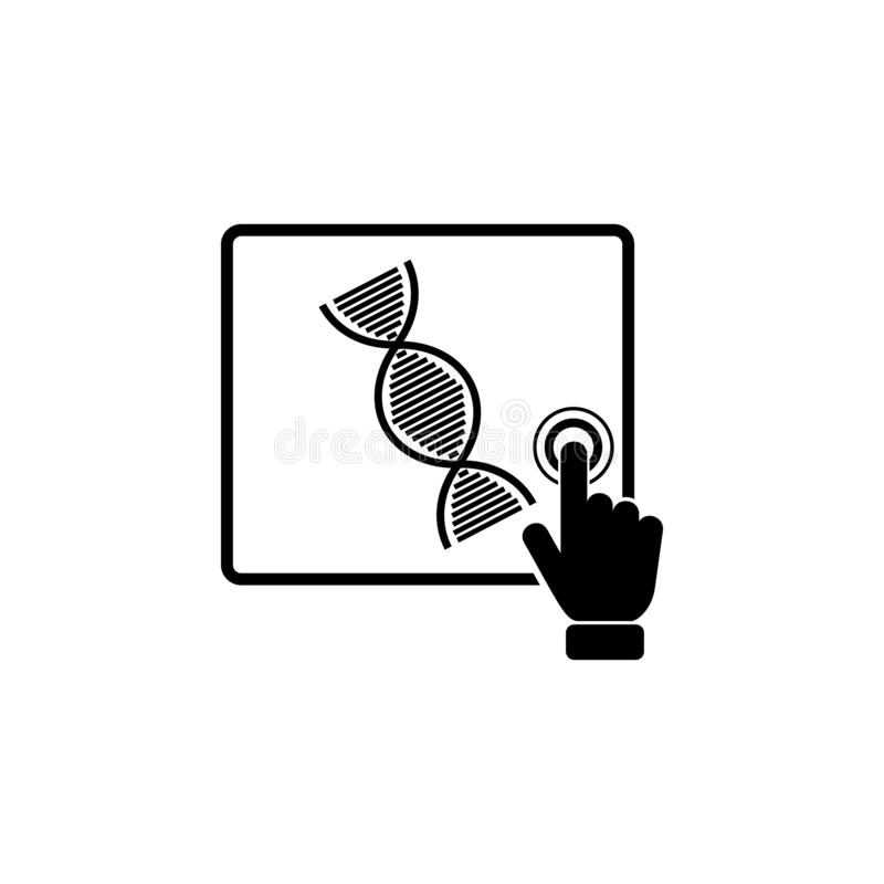 Genetic research concept on touch screen icon. Element of touch screen technology icon. Premium quality graphic design icon. Signs. And symbols collection icon royalty free illustration