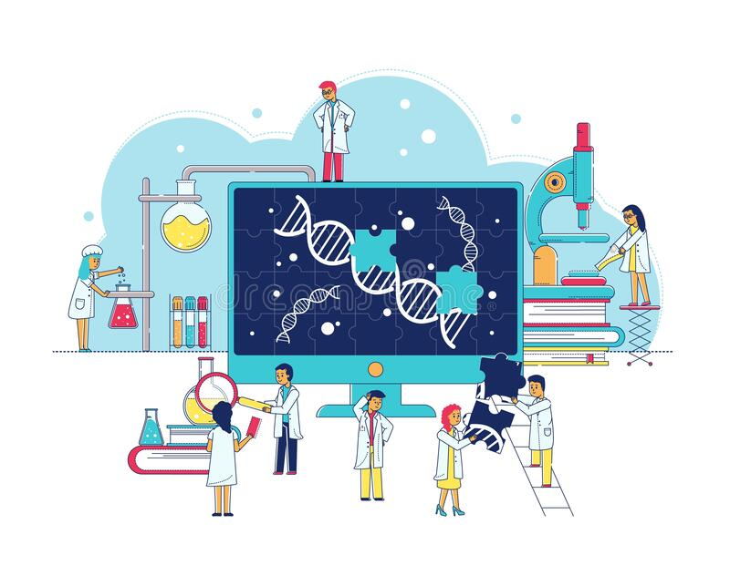 Genetic research laboratory of bitechnology, scientists study dna, biochemical lab interior flat vector illustration. Genetic research laboratory of royalty free illustration