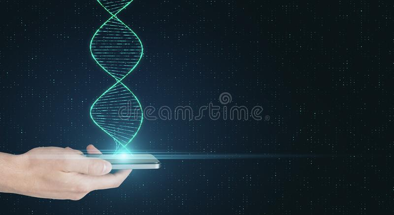 Genetic science and biotechnology analysis concept. With human hand with smartphone and dna spiral royalty free stock photo