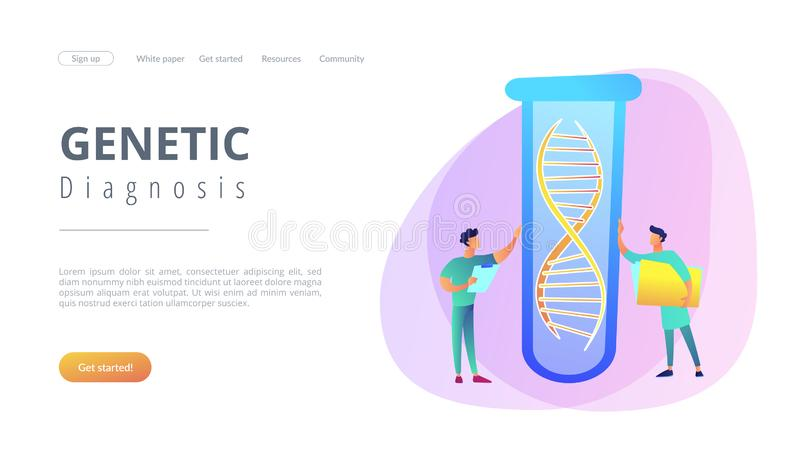 Genetic testing concept landing page. Scientists with folder and clipboard working with huge DNA in test tube. Genetic testing, DNA testing, genetic diagnosis stock illustration
