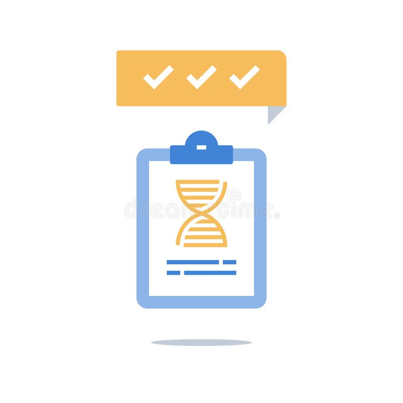 Genetic testing, DNA spiral, medical services, analysis and diagnosis stock illustration