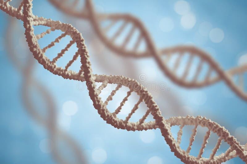 Genetica en de microbiologieconcept DNA-molecules op blauwe achtergrond stock illustratie