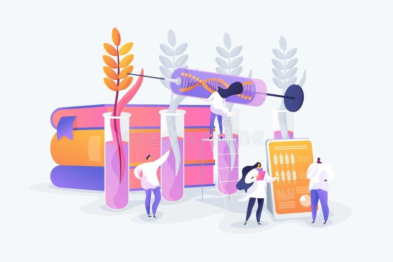 Genetically доработанная иллюстрация вектора концепции заводов иллюстрация штока