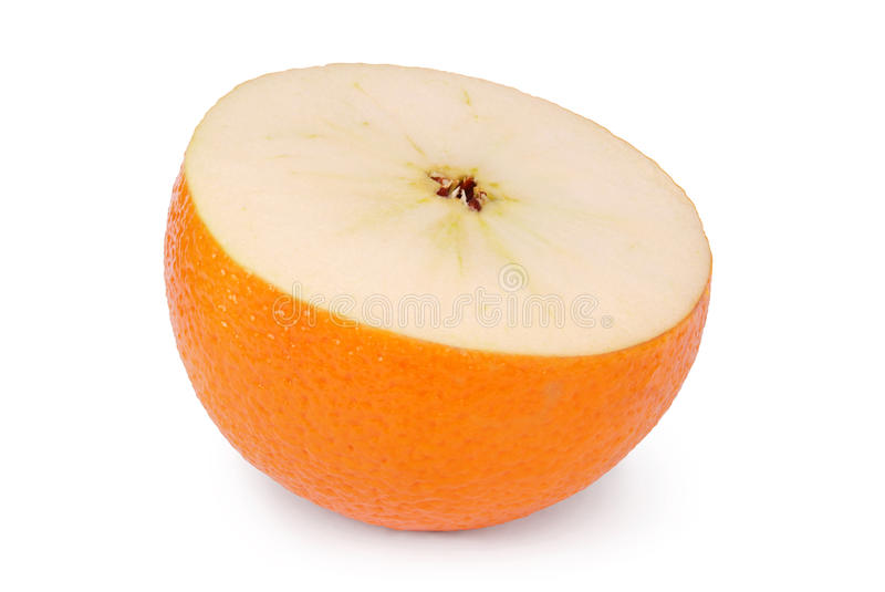 Genetically modified food Clipping path. Apple and an orange combined into one piece of fruit on white. Clipping path included stock photos