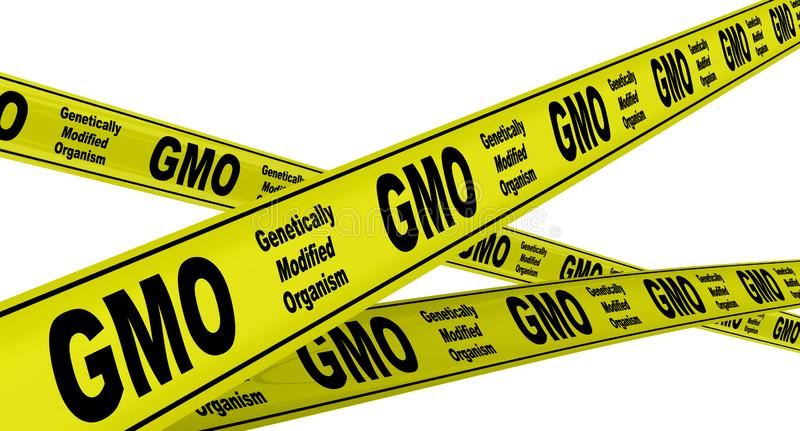 Genetically Modified Organism GMO. Yellow warning tapes. Yellow warning tapes with inscription Genetically Modified Organism GMO. Isolated. 3D Illustration royalty free illustration