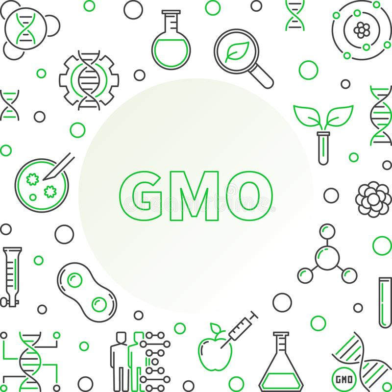 Genetically Modified Organism linear vector concept frame. Genetically Modified Organism linear frame. GMO outline vector concept illustration stock illustration