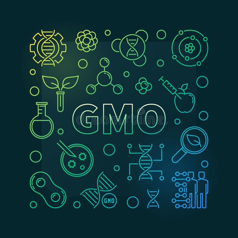Genetically Modified Organism vector line illustration. GMO or Genetically Modified Organism vector linear colored illustration on dark background royalty free illustration