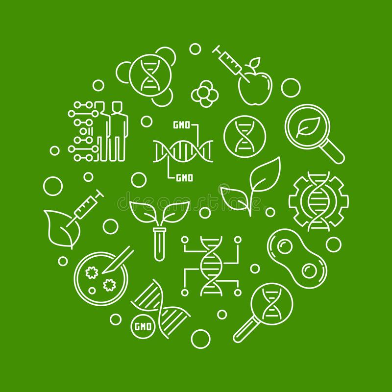 Genetically Modified Organism vector round line illustration. Genetically Modified Organism or GMO vector round outline illustration on green background stock illustration