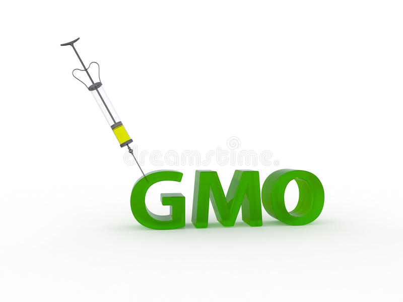 Genetically modified organisms GMO left 3d. Medical reusable syringe stuck in the text GMO vector illustration
