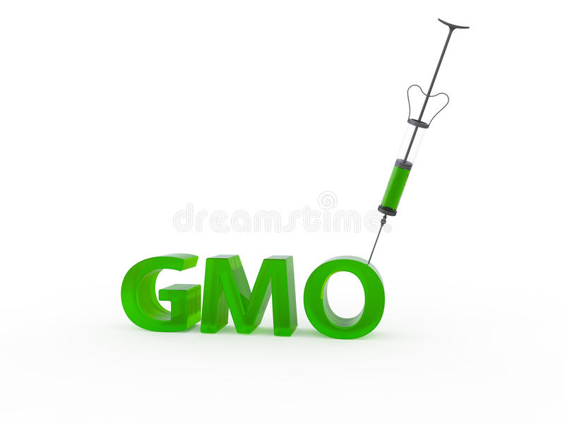 Genetically modified organisms GMO right 3d. Medical reusable injector stuck in the text GMO royalty free illustration