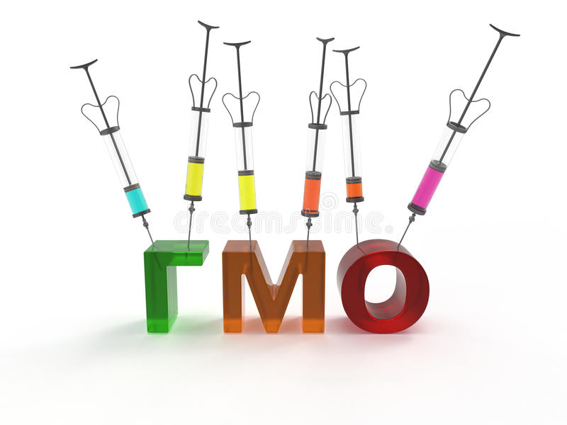 Genetically modified organisms GMO of russian. Medical reusable syringes stuck in the text, translated from Russian as GMOs stock illustration