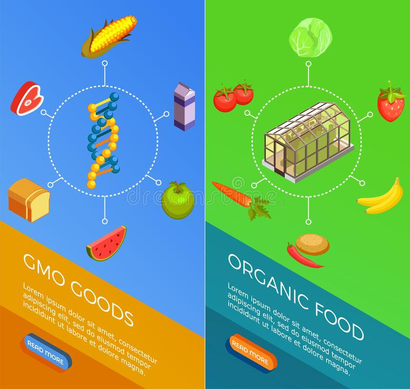 Genetically Modified Organisms Isometric Banners. Genetically modified organisms set of vertical isometric banners with gmo goods and organic food isolated royalty free illustration