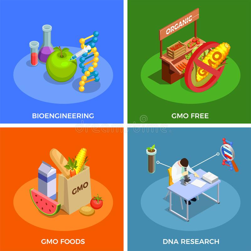Genetically Modified Organisms Isometric Concept. Genetically modified organisms isometric design concept with bio engineering, dna research, gmo foods isolated royalty free illustration