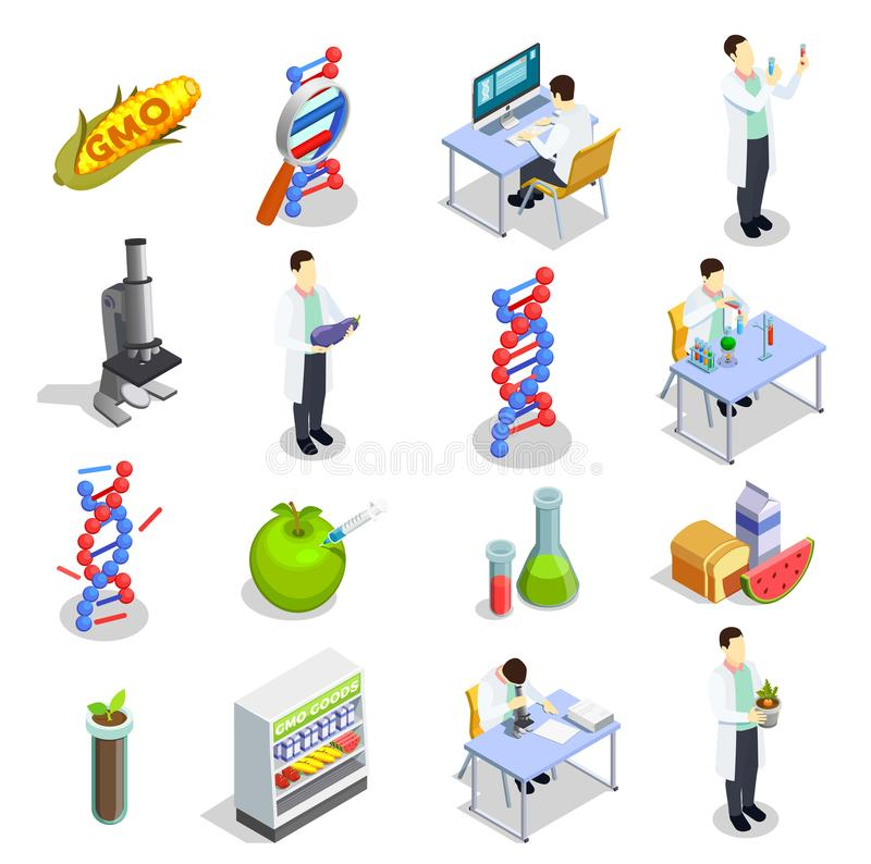 Genetically Modified Organisms Isometric Icons. Genetically modified organisms set of isometric icons with dna research, gmo goods, scientific laboratory vector illustration
