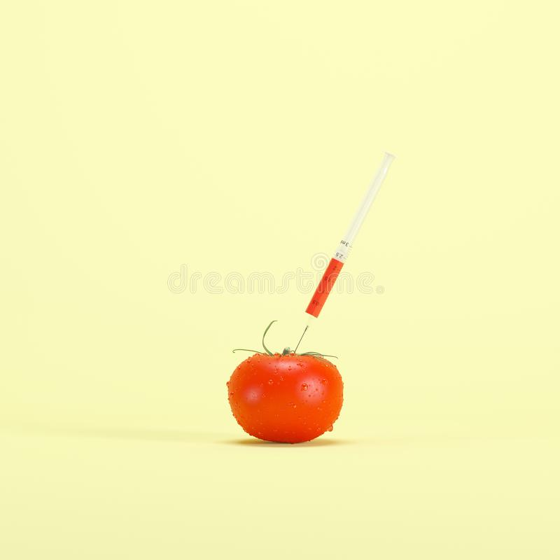 Genetically modified red tomato with syringe on light yellow background vector illustration