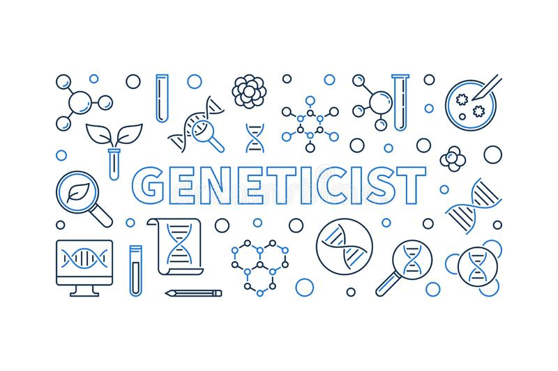 Geneticist illustration in outline style. Vector linear banner. Geneticist creative concept horizontal illustration in outline style. Vector linear banner stock illustration