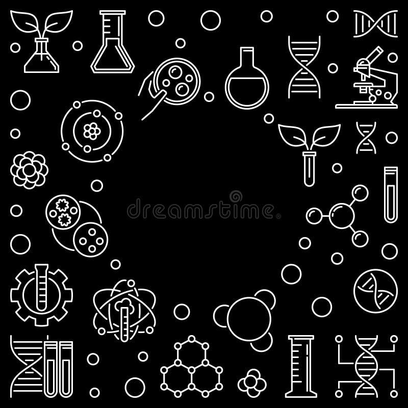 Geneticist vector outline dark frame or illustration. Geneticist vector concept dark frame or illustration in outline style stock illustration