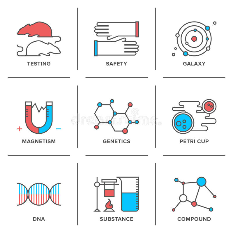 Genetics and lab testing line icons set. Flat line icons set of science research, genetics evolution experiment, DNA molecular structure, laboratory protection royalty free illustration