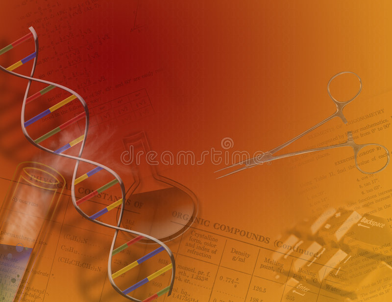 Genetics & Science. Genetics and or science features chemistry flasks, DNA strand and other science items stock illustration