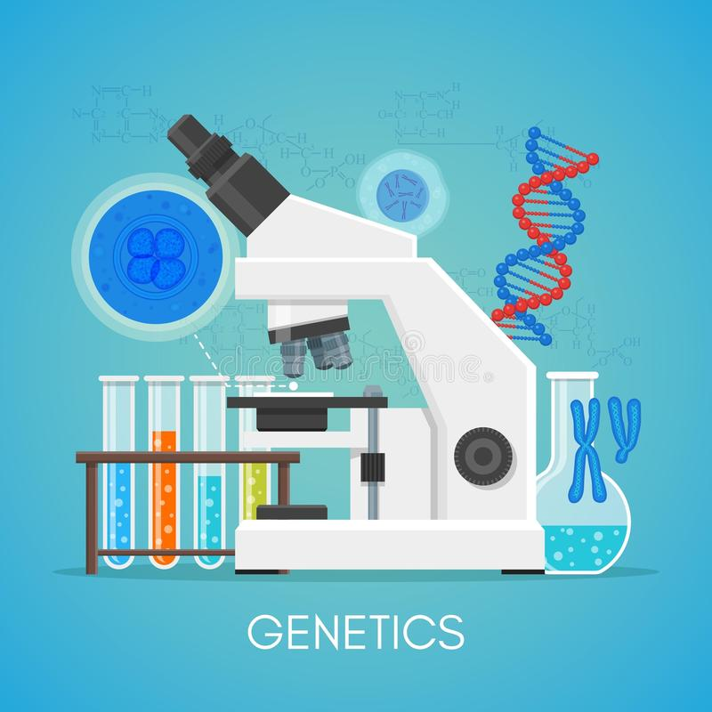 Genetics science education concept vector poster in flat style design. Biology school laboratory equipment royalty free illustration