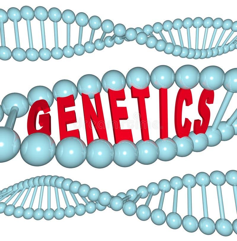 Genetik - Wort in DNA stock abbildung
