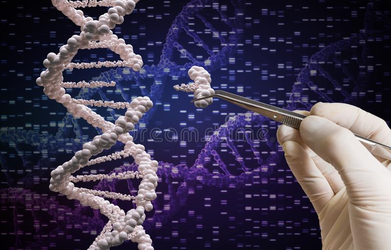 Genetisch manipulatie en DNA-wijzigingsconcept stock illustratie